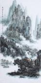 著名山水名家杨秀亮写意四尺山水画《夏云多奇峰》