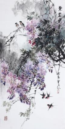 花鸟名家石云轩四尺竖幅写意水墨画《紫气东来》