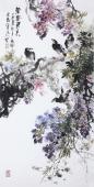 【已售】花鸟名家石云轩四尺竖幅写意水墨画《紫气东来》
