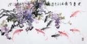 花鸟名家石云轩四尺横幅写意水墨画《连年有余》