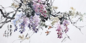 花鸟名家石云轩四尺横幅写意水墨画《紫气东来》