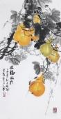 花鸟名家石云轩四尺竖幅写意水墨画《五福临门》