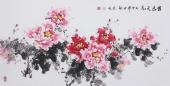 【已售】国家一级美术师王凌风 四尺横幅《国色天香》