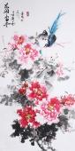 【已售】国家一级美术师王凌风 四尺竖幅《花开富贵》
