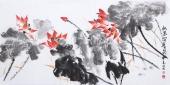 国家一级美术师王凌风 四尺横幅《红色荷韵》