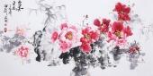 国家一级美术师王凌风 四尺横幅《富贵平安》
