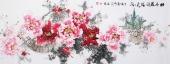 国家一级美术师王凌风 六尺横幅《牡丹花开溢天香》