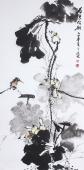 【已售】国家一级美术师王凌风 四尺竖幅《荷色》