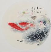 河南美协刘志高精品工笔鲤鱼《连年有余》