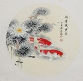 河南美协刘志高精品工笔锦鲤《水清鱼乐图》