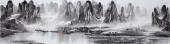 广西美协莫桂明写意山水画 小八尺横幅《万峰叠翠影百里》