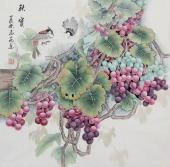 【已售】河南美协刘志高精品工笔葡萄《秋实》