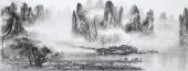 广西美协莫桂明写意山水画 小六尺横幅《兴坪云锁半遮峰》