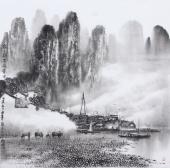 广西美协莫桂明 四尺斗方精品国画《家家都在画屏中》