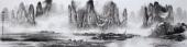 广西美协莫桂明写意山水画 小八尺横幅《漓江烟雨》