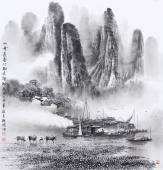 广西美协莫桂明 四尺斗方精品国画《山峰远叠竹树尽朦胧》