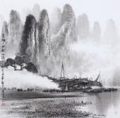 广西美协莫桂明 四尺斗方精品国画《清漓一曲绕山流》