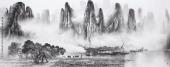 广西美协莫桂明写意山水画 小六尺横幅《万峰叠崔影百里》