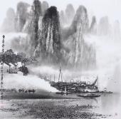 广西美协莫桂明 四尺斗方精品国画《坐看奇峰云起时》