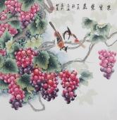河南美协刘志高精品工笔葡萄《硕果累累》