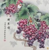 河南美协刘志高精品工笔葡萄《硕果图》