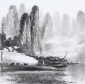 广西美协莫桂明 四尺斗方精品国画《家住在青山路绿水间》