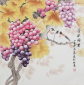 河南美协刘志高精品工笔葡萄《金秋硕果》
