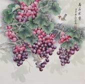 河南美协刘志高精品工笔葡萄《春华秋实》