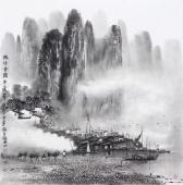 广西美协莫桂明 四尺斗方精品国画《兴坪云锁半遮峰》