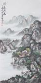 青绿山水画 山水名家周卡四尺竖幅《源远流长》