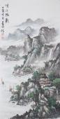 国礼艺术家周卡四尺精品山水画《峡江帆影》