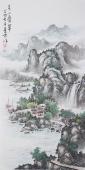 国礼艺术家周卡四尺竖幅山水画《青山叠翠》
