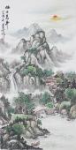 国礼艺术家周卡四尺竖幅青绿山水画《旭日东升》
