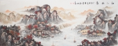 【已售】聚宝盆山水画  周卡八尺横幅《秋江帆影》