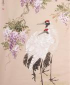 河北美协花鸟画名家皇甫小喜四尺竖幅《贺寿接紫气》