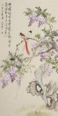 河北美协花鸟名家皇甫小喜四尺竖幅紫藤