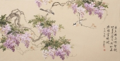 河南美协花鸟名家皇甫小喜四尺横幅《紫气东来》