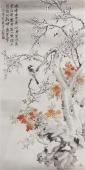 河北美协会员皇甫小喜四尺竖幅花鸟画