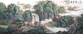 国礼山水画名家周卡 八尺横幅精品国画《春山叠翠图》