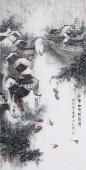 【已售】北京美协张春奇四尺竖幅山水《江南细雨梳思情》