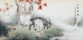 安徽美协云志四尺横幅动物画《三阳开泰》