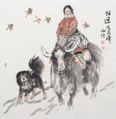河北美协会员杨西沐四尺斗方人物《归途》