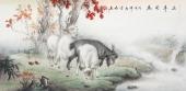 安徽美协云志四尺横幅动物山羊《三羊开泰》