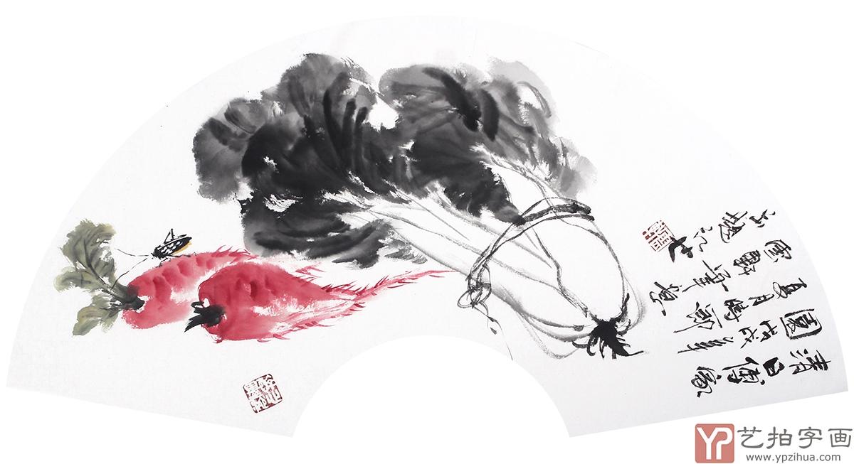 【已售】花鸟名家石云轩写意果蔬图扇面《清日傅家园》