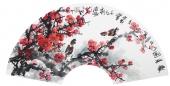 花鸟名家石云轩写意扇面梅花《报春图》