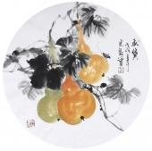花鸟名家石云轩写意圆面《秋实》