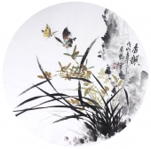 【已售】花鸟名家石云轩写意圆面《春韵》