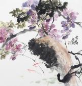 花鸟名家石云轩四尺斗方紫藤