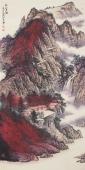 美术家协会山水名家张哲礼四尺竖幅山水《秋山夕照》