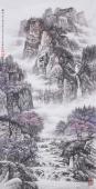 【已售】辽宁美协张振栋四尺竖幅精品山水画《春到深山泉更深》